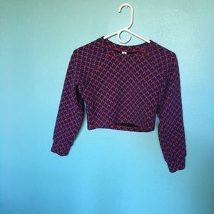 Blue and red long sleeve crop top
